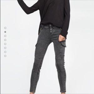Zara Woman Washed Gray Cargo Pants Size 8